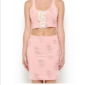 May Pink Distressed Pink Mini Skirt Size Small